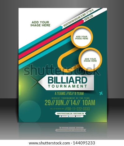 Vector Tournament Brochure, Flyer, Magazine Cover & Poster Template - stock vector