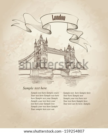 Vector Tower Bridge, London, England, UK, Europe. Hand drawing old fashion illustration background with copy space.  - stock vector