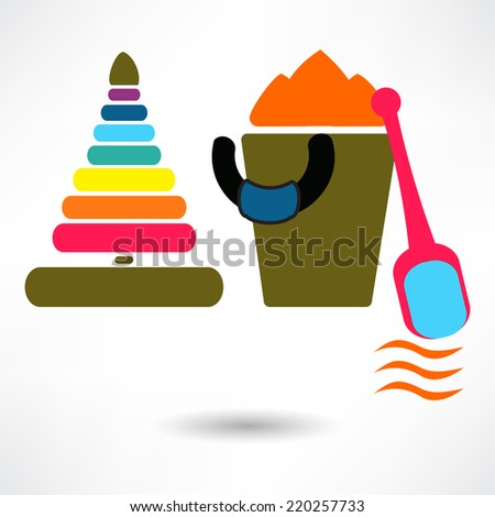 Vector toy icons. Baby toys - stock vector