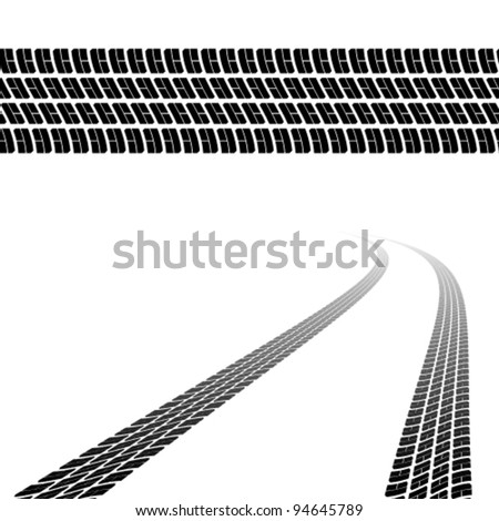 vector trace of the tyres - stock vector