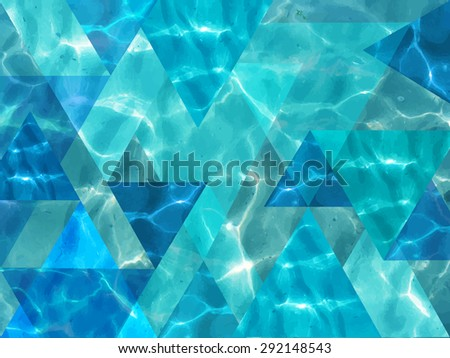 Vector traced illustration of shiny blue ocean water with unusual triangles. Tropical image. Illustration can be used for web design, textures, summer posters, trip and vacations cards design. - stock vector