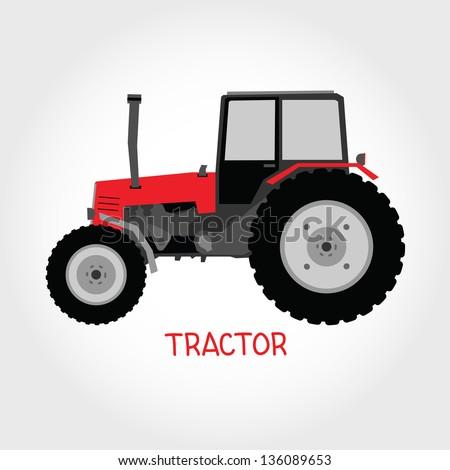 Vector tractor - stock vector