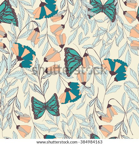 Vector traditional seamless pattern with Monarch butterflies, floral elements and spring flowers, vector illustration - stock vector