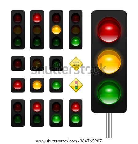 Vector traffic lights icon set. High quality three aspects, dual aspects and single aspects traffic signals icons isolated on white background. Traffic lights ahead and signal ahead road signs. - stock vector