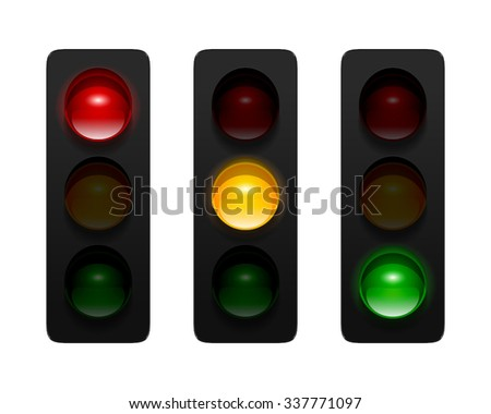Vector traffic signals with three aspects isolated on white background. Traffic lights icon set for your design. - stock vector