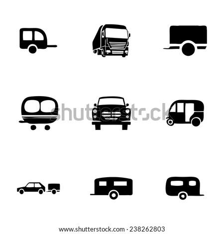 Vector trailer icon set on white background - stock vector