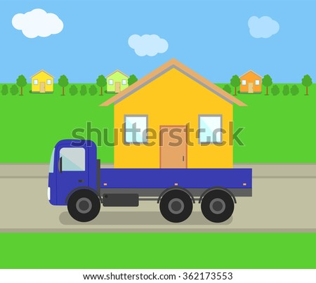 Vector Trailer with House - stock vector