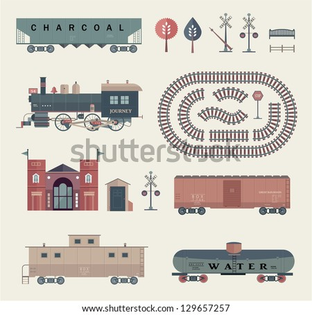 Vector train set - stock vector