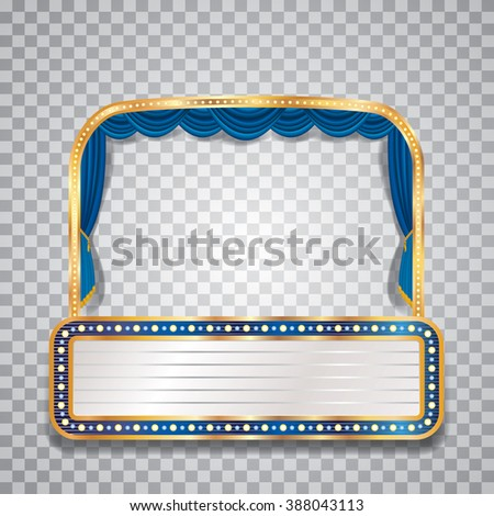 vector transparent blue velvet stage with bulb lamps and blank billboard - stock vector