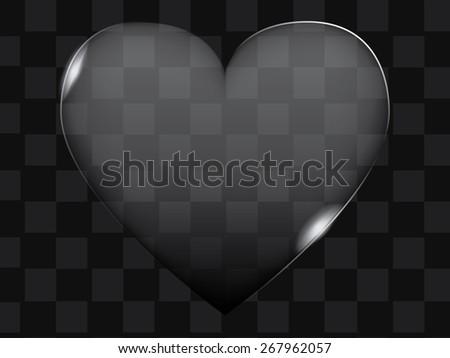 Vector transparent glass heart or button shape - stock vector