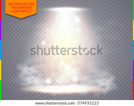 Vector transparent spotlight scene with lightning and fog or smoke background. Abstract light effect design for presentation energy, power or charge product - stock vector