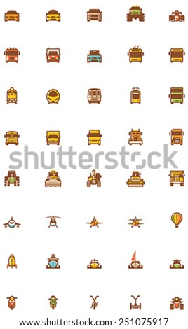 Vector transport icon set - car, truck, cycle, motorcycle, bus, plane, train - stock vector
