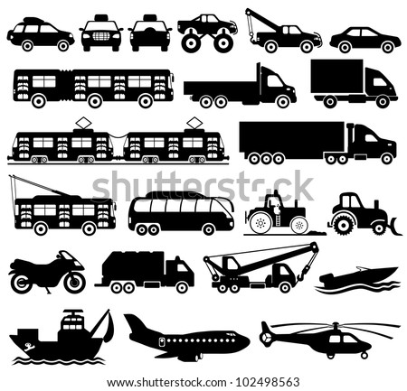 Vector. Transport silhouettes. - stock vector