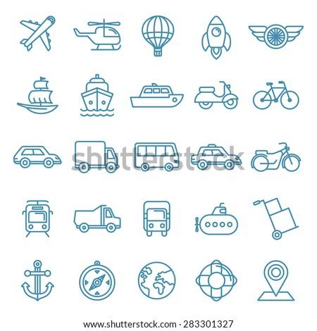 Vector transportation and logistics icons and signs in trendy mono line style - outline illustrations - different vehicles - stock vector