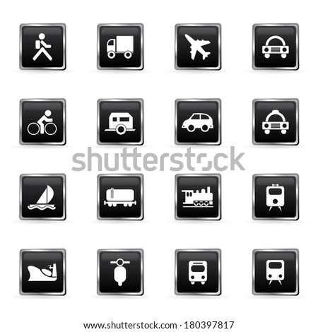 Vector transportation and traveling icons set. - stock vector