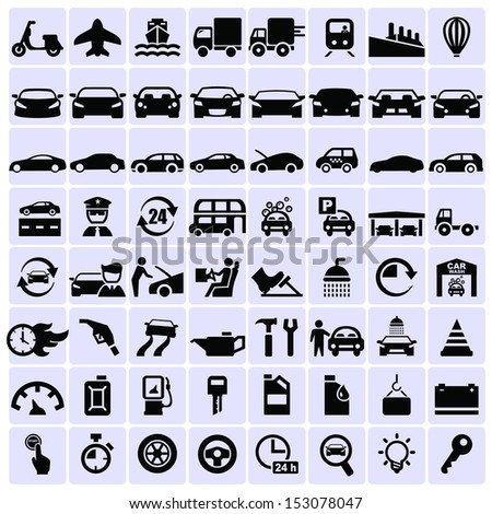 Vector transportation icons   - stock vector
