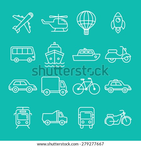 Vector transportation icons and signs in trendy mono line style - outline illustrations - different vehicles - stock vector