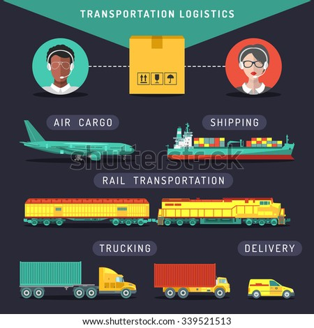 Vector transportation logistics concept. Transport  management infographics in flat style. Shipping icons set. Sea, air, rail carriage, trucking services. Freight illustration. - stock vector