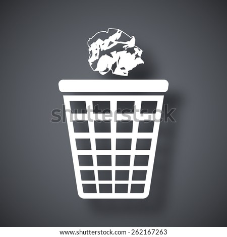 Vector trash basket icon with crumpled paper - stock vector