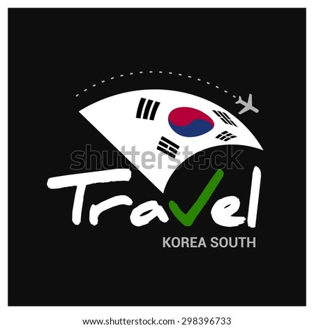 Vector travel company logo design - Country travel agency logo - Country Flag Travel and Tourism concept t shirt graphics - Travel South Korea Symbol - vector illustration - stock vector