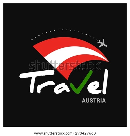 Vector travel company logo design - Country travel agency logo - Country Flag Travel and Tourism concept t shirt graphics - Travel Austria Symbol - vector illustration - stock vector