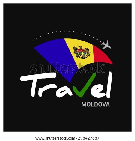 Vector travel company logo design - Country travel agency logo - Country Flag Travel and Tourism concept t shirt graphics - Travel Moldova Symbol - vector illustration - stock vector