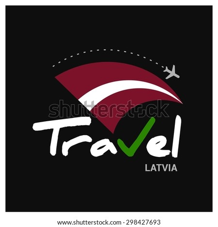 Vector travel company logo design - Country travel agency logo - Country Flag Travel and Tourism concept t shirt graphics - Travel Latvia Symbol - vector illustration - stock vector