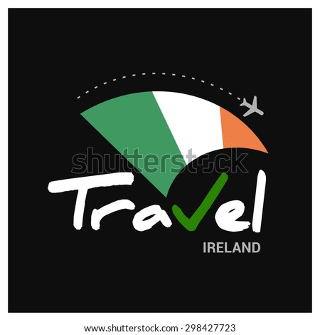 Vector travel company logo design - Country travel agency logo - Country Flag Travel and Tourism concept t shirt graphics - Travel Republic of Ireland Symbol - vector illustration - stock vector