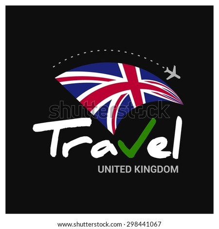 Vector travel company logo design - Country travel agency logo - Country Flag Travel and Tourism concept t shirt graphics - Travel UK Symbol - vector illustration - stock vector