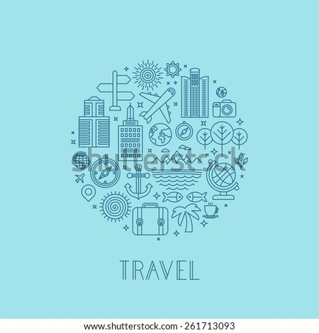 Vector travel logos and icons in outline style - holiday and vacation signs - stock vector