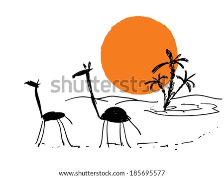 vector travel scribble sketch with sun and giraffes - stock vector