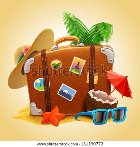 vector travel Suitcase - stock vector