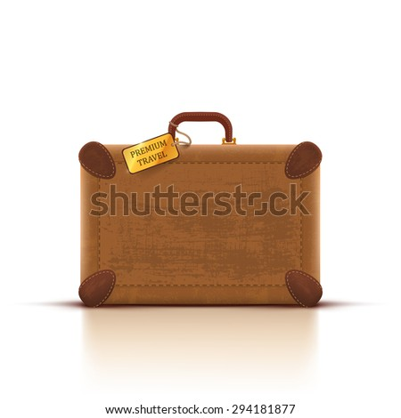 Vector traveler's brown vintage leather suitcase on white background. - stock vector