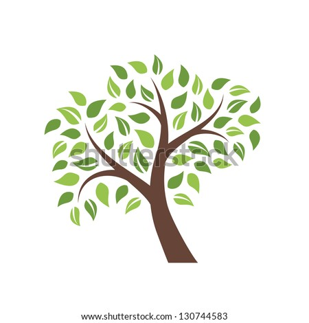 Vector tree isolated on white background - stock vector