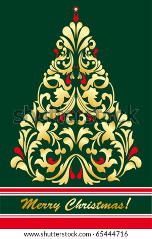 vector tree of christmas card - stock vector
