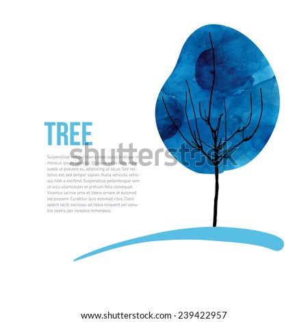 Vector tree silhouette. Winter watercolor tree silhouette isolated on white background, vector - stock vector