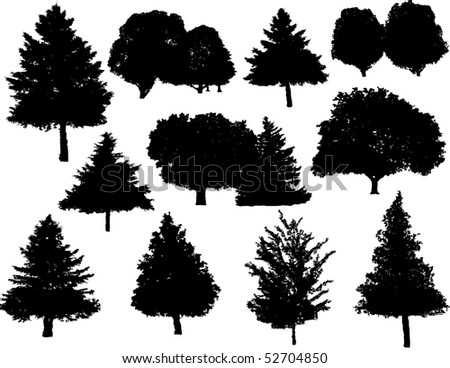Vector tree silhouettes - stock vector