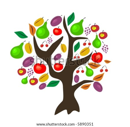 vector tree with fruits - stock vector