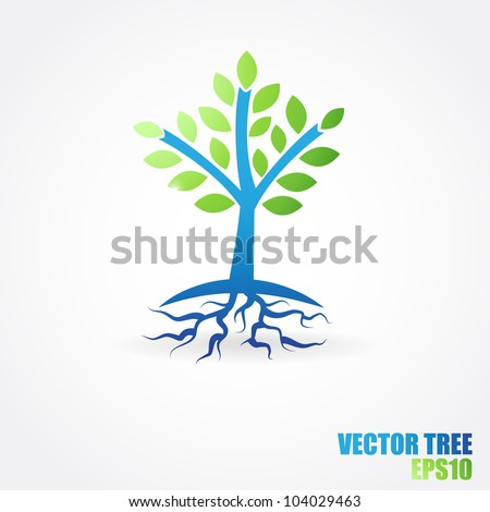 Vector tree with roots from water. Ecological concept design. - stock vector