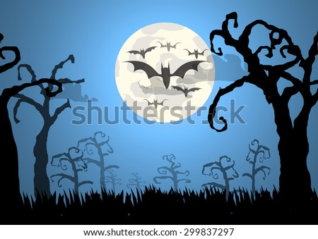 Vector : Trees and bats halloween background - stock vector