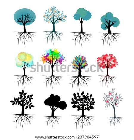 Vector trees collection with roots - stock vector