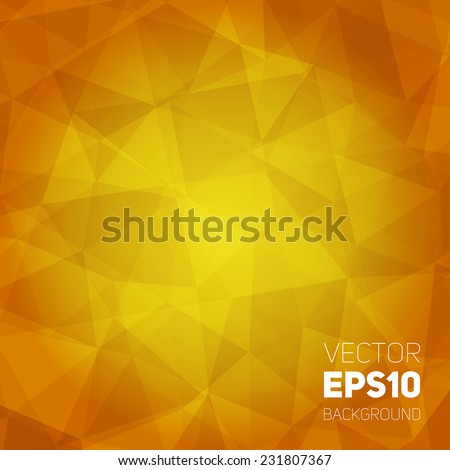 Vector trendy and modern abstract polygonal geometric background. Honey crystal triangular texture. Polygonal backdrop with empty space for your text - stock vector