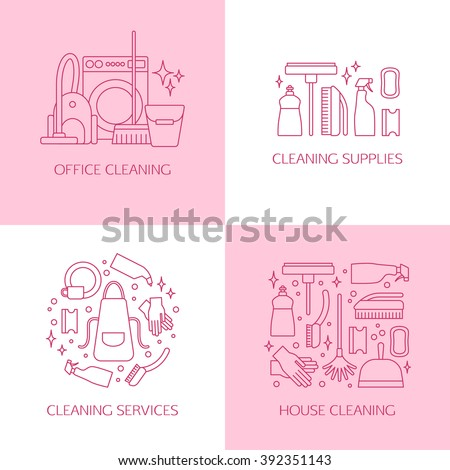 Vector trendy flat cleaning icon set, emblems, logos. Vacuum cleaner, protective gloves, plunger, spray bottle,  wipe, squeegee, sponge, bucket, mop, brush, duster and many more. - stock vector