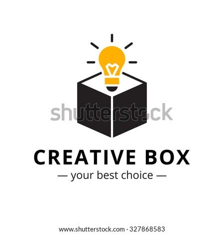 Vector trendy minimalistic light bulb in a box logo - stock vector