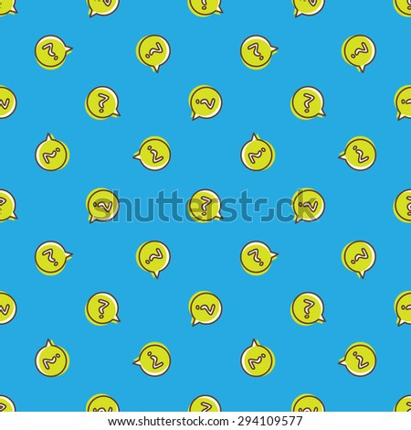 Vector trendy question signs in speech bubble seamless pattern. Questions background in cartoon style - stock vector