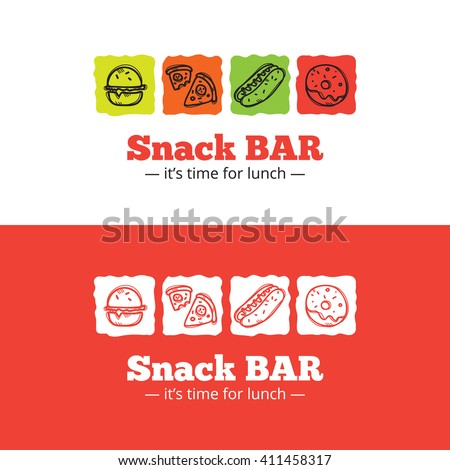 Vector trendy snack bar logo in doodle style. Sketchy cafe logo - stock vector