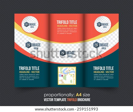 Vector Tri-Fold Brochure Design. Corporate Leaflet, Cover Template - stock vector