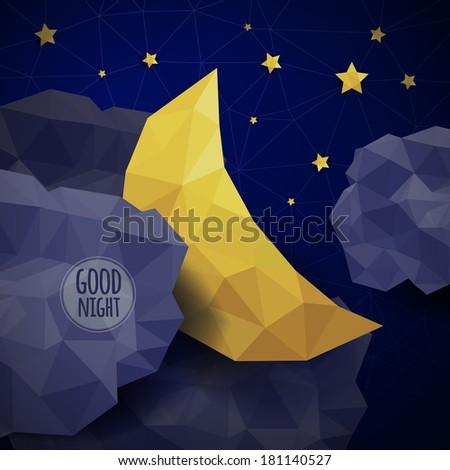 Vector triangle background with clouds, the new moon and the stars - stock vector