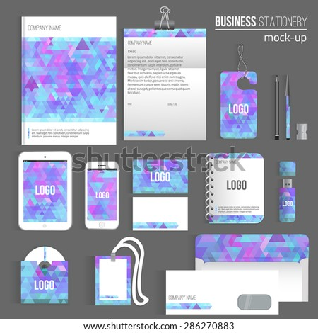 Vector triangle Blank corporate identity set of Stationery Branding. Consist of letterhead, book, pen, pencil, note, phone, business cards, cd, envelope. EPS10. - stock vector