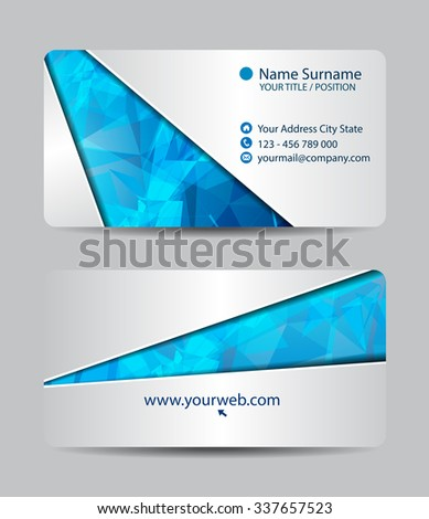 Vector triangle business card set for your design, abstract Illustration. - stock vector